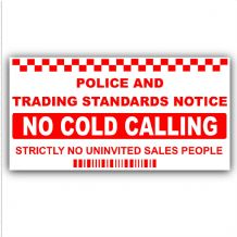 1 x No Cold Callers-SMALL 50x87mm-Salesman Calling Warning House Sticker-Self Adhesive Vinyl Door or External Window Sign